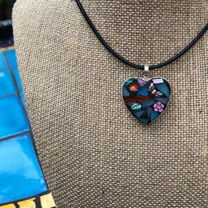 Gorgeous Butterfly Mosaic Pendant Necklace